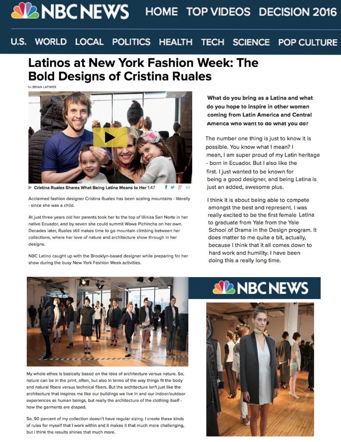 NBC News: Latinos at NY Fashion Week