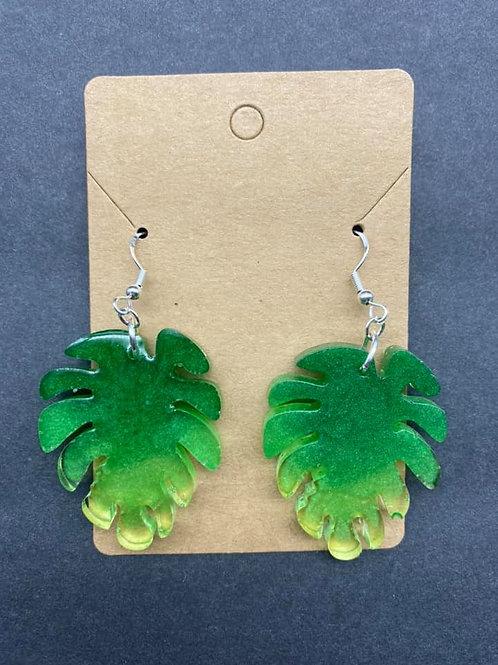 Green Palm Leaf Resin Earrings