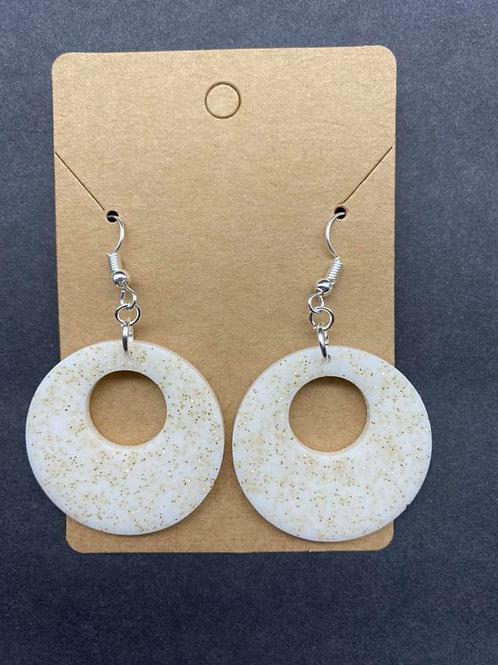 Gold & White Resin Earrings