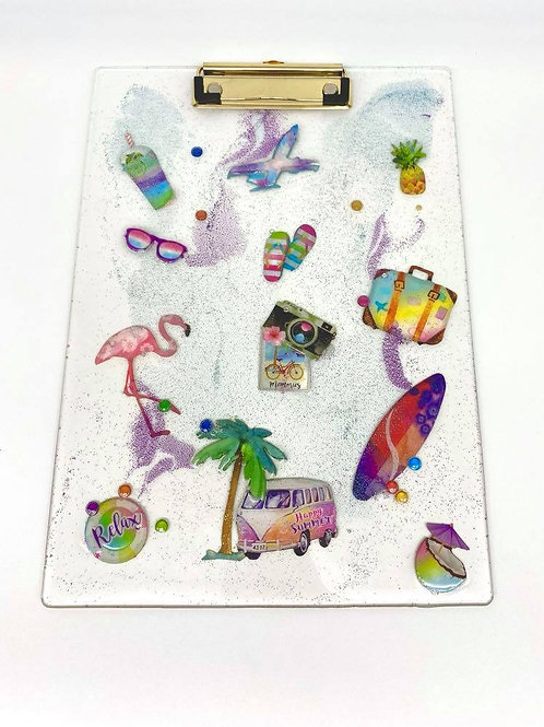 SOLD. Resin Clipboard - beach/vacation style