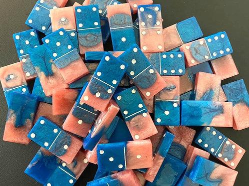 Blue & Pink Resin Dominoes Set