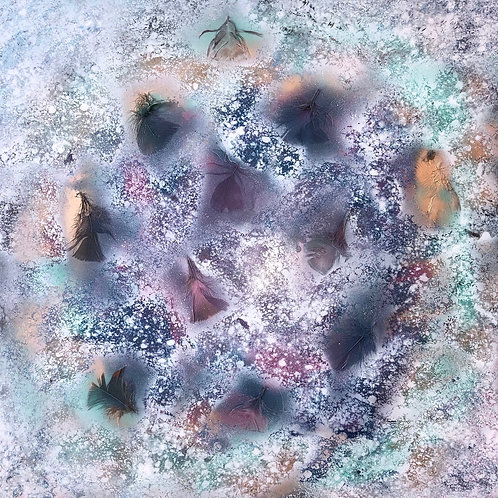 """""""A Feathery Frost"""" - 24"""" x 24"""" spray paint on masonite (with feathers)"""