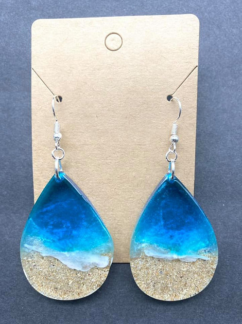 Teardrop Beach Resin Earrings
