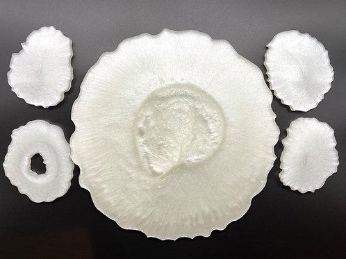 Pearl white Resin Tray & Coaster set