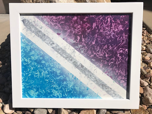 "SOLD!! ""Racing Stripes"" - 11"" x 14"" spray paint on poster"