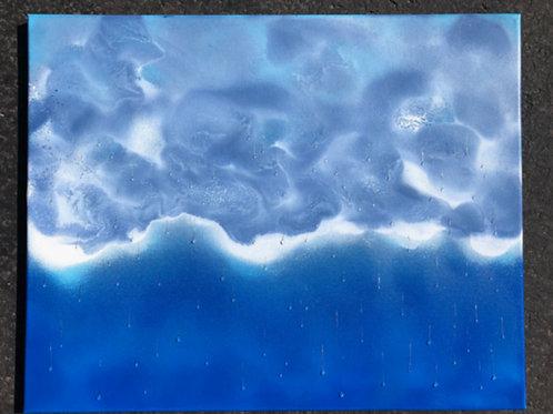 """""""Rain"""" #6 - 16"""" x 20"""" spray paint on canvas"""