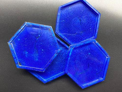 Deep Blue Hexagon Coasters