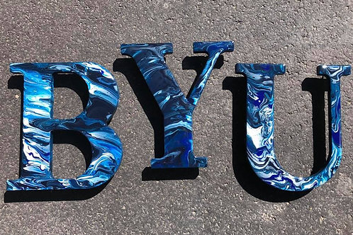 BYU #1 - Marbled Wood Letters