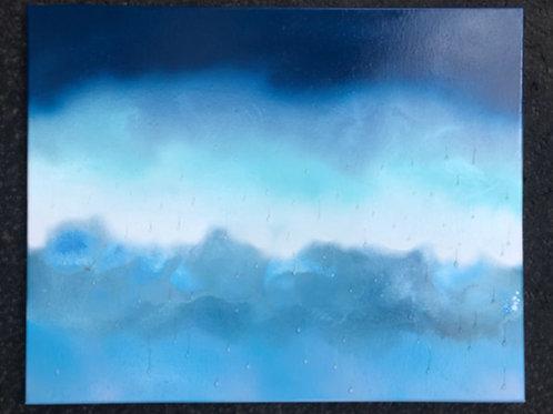 """""""Rain"""" #7 - 16"""" x 20"""" spray paint on canvas"""