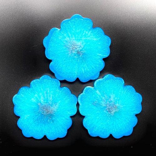 Blue Flower Resin Coasters