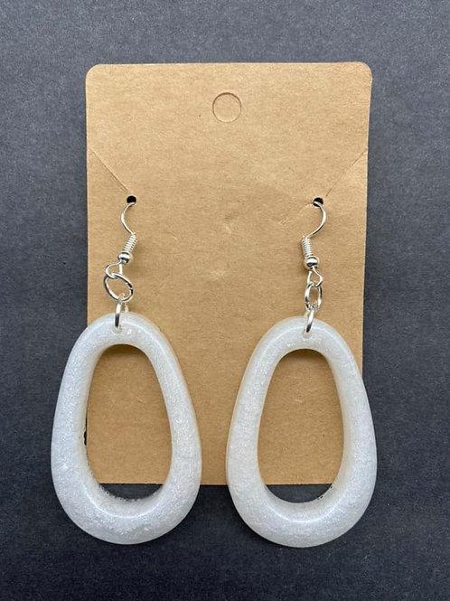 Pearl White Teardrop Loop Resin Earrings