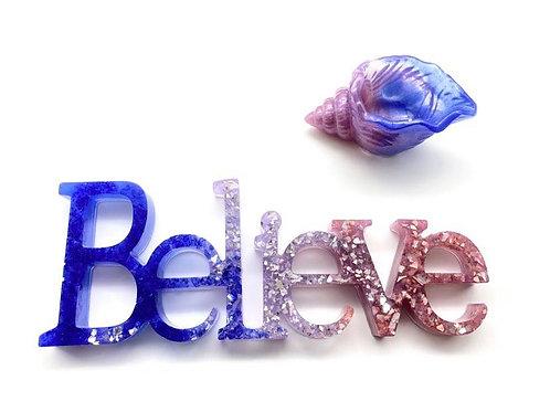 """Believe"" & shell bowl set - resin"