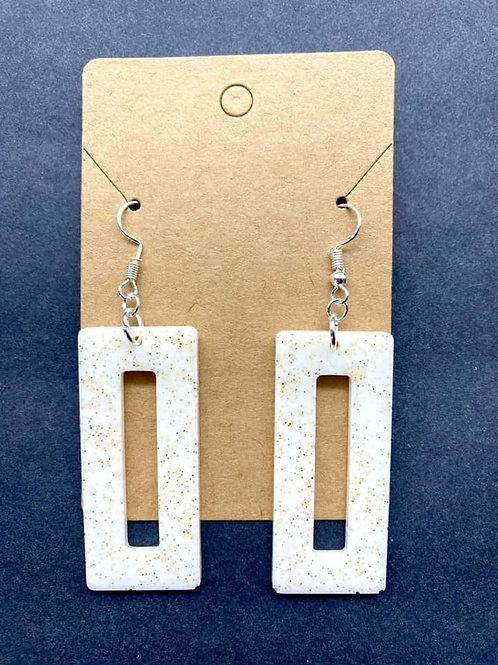 White & Gold Resin Earrings