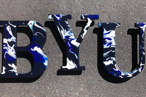 BYU #3 - Marbled Wood Letters