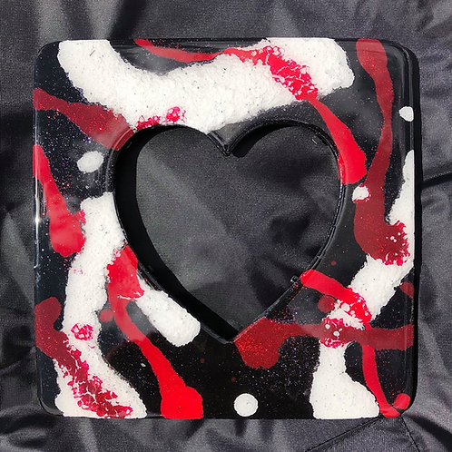 SOLD. Heart Frame (red, white & black)
