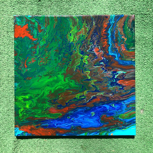 """A River Runs Through It"" - 14"" x 14"" acrylic on canvas"