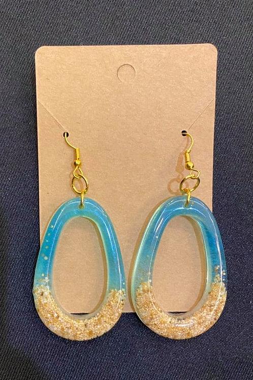 Teardrop Loop Beach Resin Earrings
