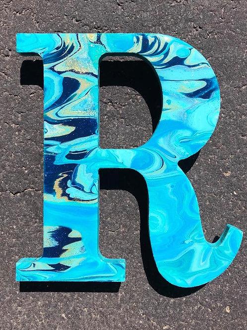 "SOLD. ""R"" - Marbled Wood Letter"