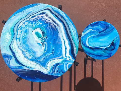 "SOLD. ""Ocean Wood Stands"" - Marbled Wood Art"