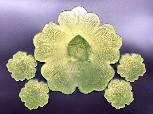 Olive Green Flower Tray & Coaster Set