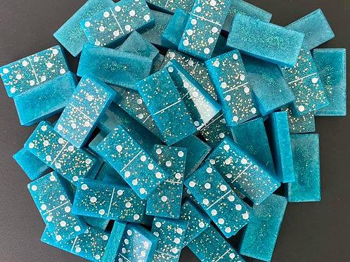 Teal Blue Resin Dominoes Set