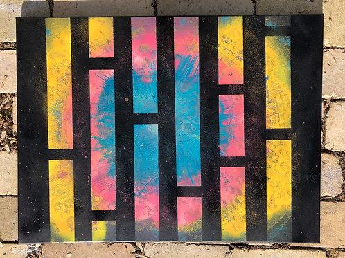 """Peering into Creation"" - 18""x 24"" spray paint on canvas"