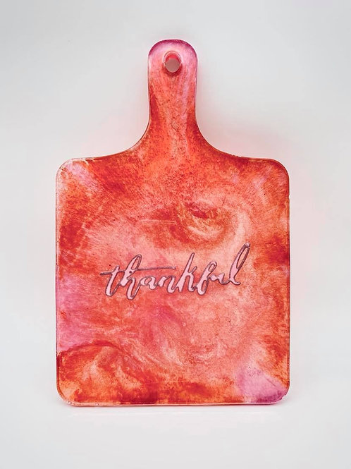 """Thankful"" cutting/charcuterie board hanging display"