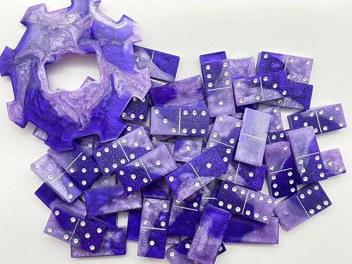 Purple Resin Dominoes Set