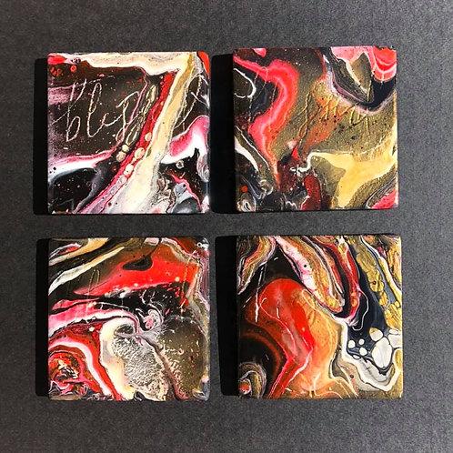 Red, white, gold & black coaster set