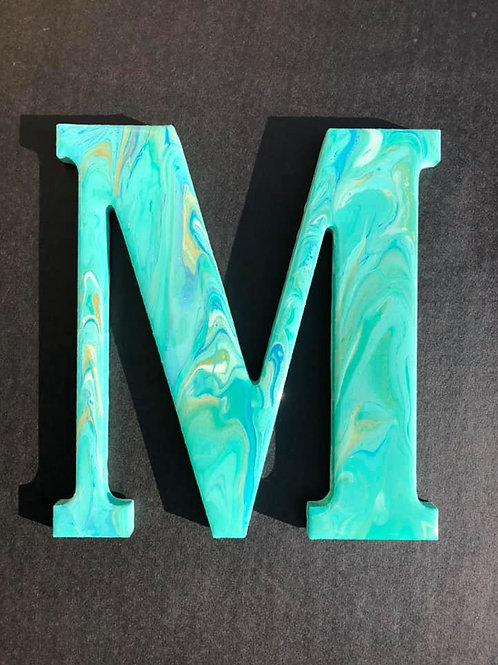 """""""M"""" Marbled Wood Letter"""