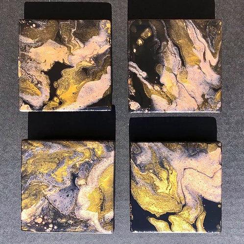 SOLD. Gold, rose gold, & black Coaster set
