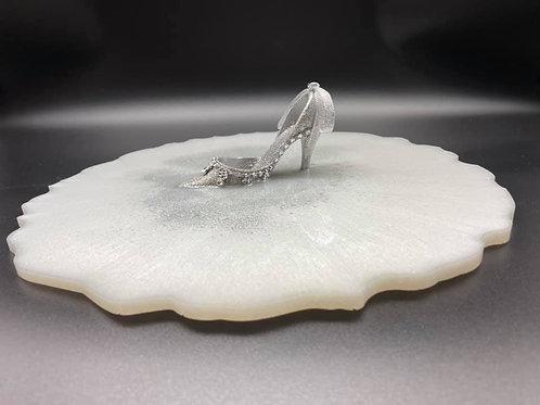 Elegant silver slipper white resin Tray