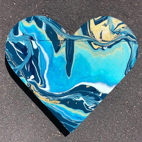 SOLD. Marbled Wood Heart