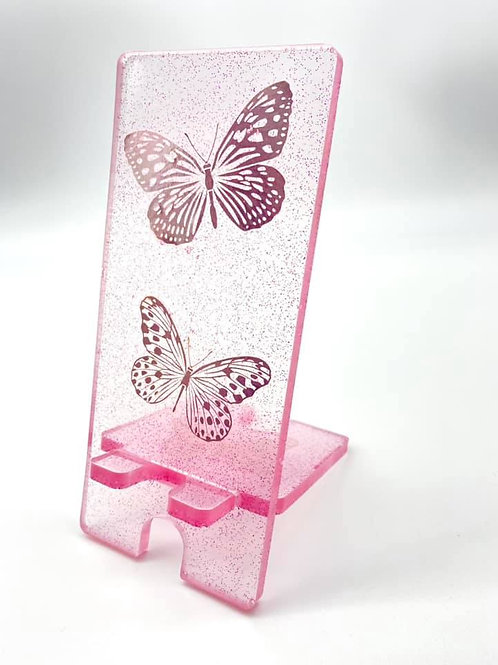 Pink Butterfly Resin Phone Stand