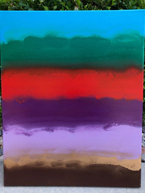"""Earth's Layers"" - 16"" x 20"" spray paint on canvas"