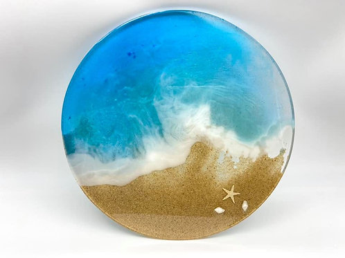 Beach Round Resin Tray