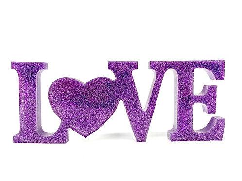 """""""Love"""" - violet sparkle (resin)"""