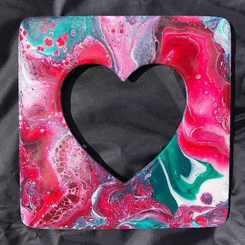 SOLD. Heart Frame (red & green) - Marbled Wood Art