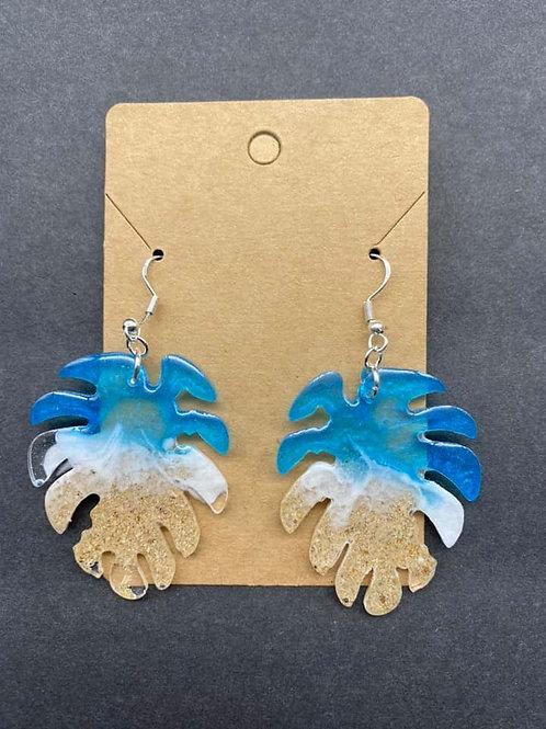 Palm Leaf Beach Resin Earrings