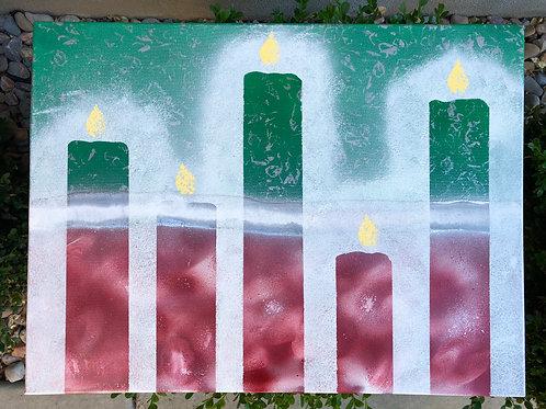 """Christmas Candles"" - 18"" x 24"" spray paint on canvas"