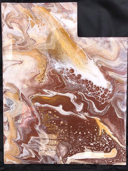 """Utah #4"" - Marbled Wood Art"