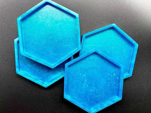 Blue Hexagon Resin Coasters