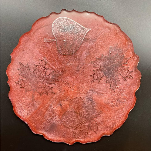 Fall Resin Tray with shimmering Leaves