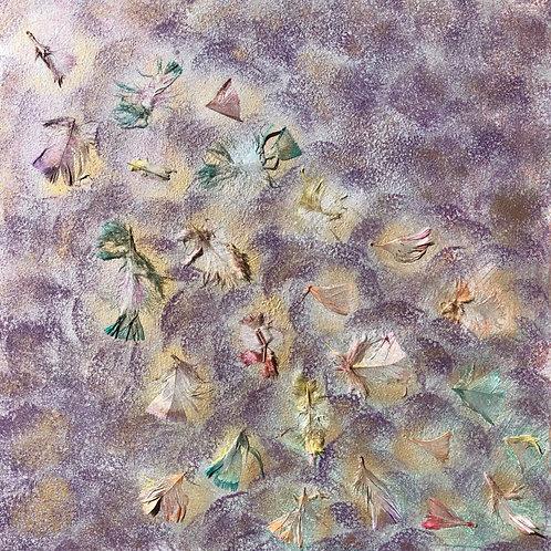 """Glittering Feathers"" - 24"" x 24"" spray paint on masonite"