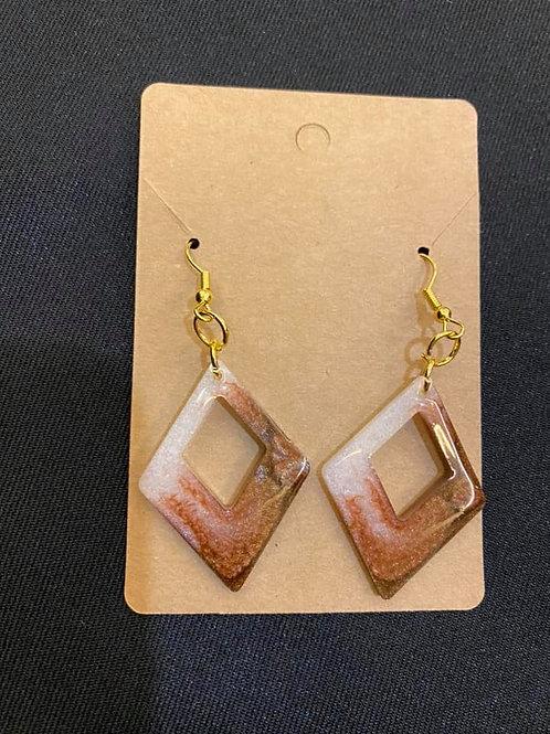 Copper Brown Resin Earrings