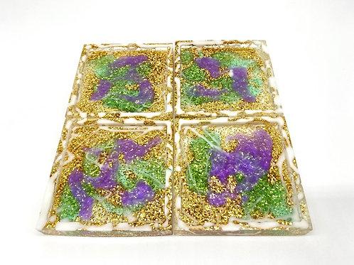 Square Coasters - purple, green, white & gold