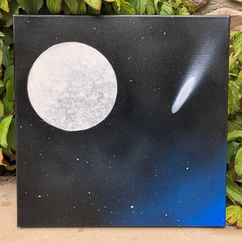 """SOLD! """"First Moon"""" - 14"""" x 14"""" spray paint on canvas"""