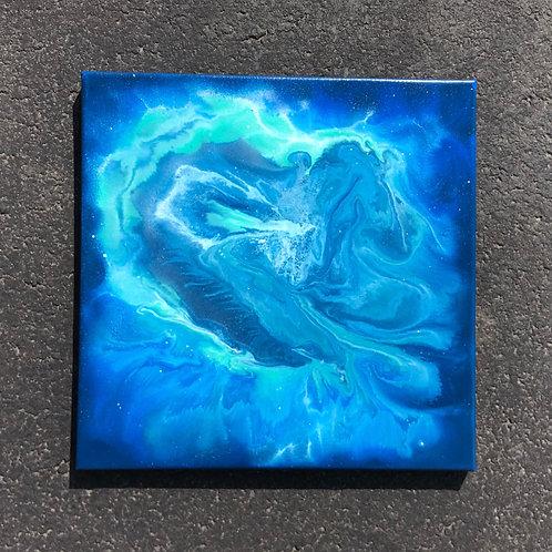 "SOLD!! ""Blue Wonder"" - 14"" x 14"" spray paint on canvas"