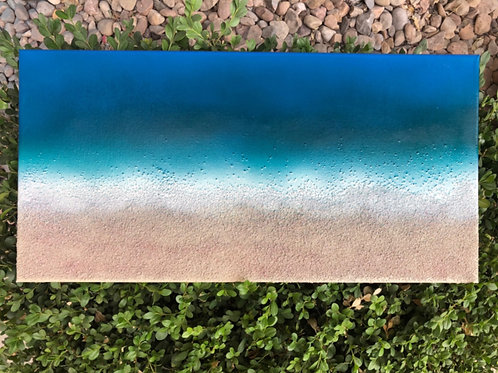 "SOLD!! ""Beach Glimpses #2"" - 10"" x 20"" spray paint on canvas"