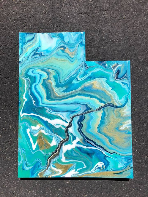 """Utah #1"" - Marbled Wood Art"